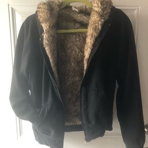 Black faux fur lined zip jacket